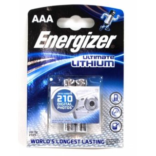 AAA Lithium Energizer Batterie Micro 1250 mAh - 2er Pack